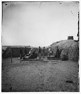 Morris Island - Union Army mortar battery on Morris Island, 1865