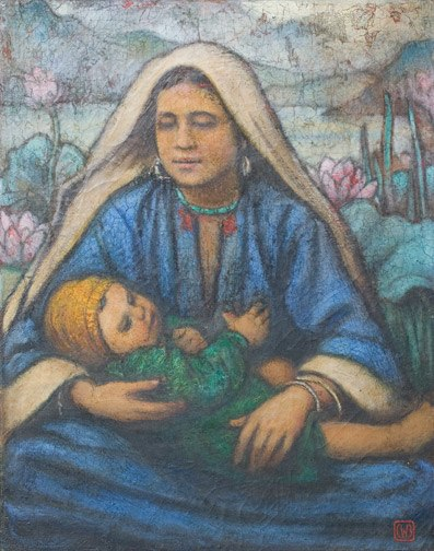 Mother and Child, Kashmir, oil on canvas by Charles W. Bartlett, c. 1930s