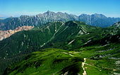 Mount Yari and Mount Hotaka from Mount Nitsumatarenge 2004-08-13.jpg