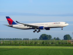 N820NW Delta Air Lines Airbus A330-323 - cn 859, landing at Schiphol (AMS - EHAM), The Netherlands, 16may2014, pic-2.JPG