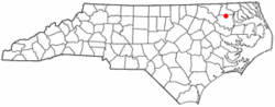 Location of Powellsville, North Carolina
