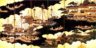 Nanban trade - Nanban ships arriving for trade in Japan. 16th-century six-fold lacquer and gilded screen.