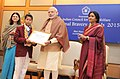 Narendra Modi presenting the National Bravery Awards 2015 to the children, in New Delhi on January 24, 2016. The Union Minister for Women and Child Development, Smt. Maneka Sanjay Gandhi is also seen (8).jpg