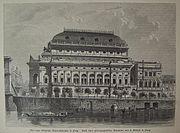 Dřevořezba z roku 1881, Polákův dům (zcela vpravo) ještě v původní podobě