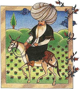 A 17th-century miniature of Nasreddin, a Seljuk satirical figure, currently in the Topkapi Palace Museum Library Nasreddin.jpg
