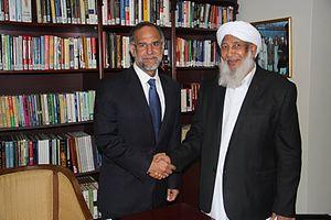 Kanthapuram A.P. Aboobacker Musliyar - Sheikh Aboobacker Ahmed with Navdeep Singh Suri at Embassy of India in Abu Dhabi