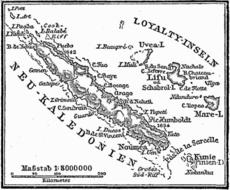 Carte historique extraite de l'encyclopédie allemande Meyers Konversations-Lexikon de la Nouvelle-Calédonie et des îles Loyauté