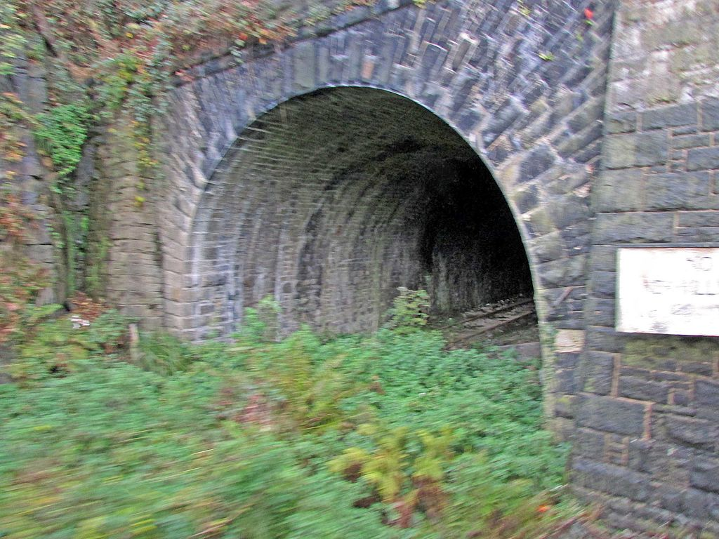 1024px New Mills Central Stn mouth of tunnel to Hayfield 06.11.16 - A mystery DMU tunnel!