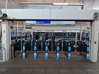New Westminster station - Platform level entrance with service to King George and Production Way–University