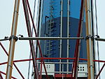 A close-up of one of the new hydraulic dampers on WindSeeker. Taken April 28, 2012.