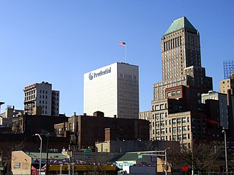 National Newark Building - From left:  Fireman's Insurance Company Building, Prudential Headquarters, and National Newark
