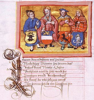 Partitions of Mecklenburg - Depiction by Nicolaus Marschalk in the Chronicon der mecklenburgischen Regenten (Chronicon of the Mecklenbugian Regents) around 1520