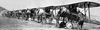 Nieuport 28 - Starting Nieuport 28s of the 95th Aero Squadron for a patrol