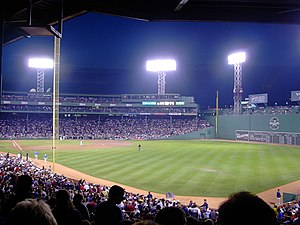 Night game - A night game at Fenway Park, a U.S. baseball park in Boston, Massachusetts.