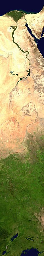 Composite satellite image of the White Nile (see also the Nile delta)
