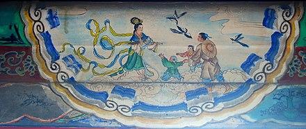 岐和園長廊彩絵:牛郎織女鵺橋会