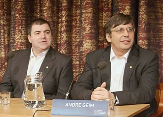 Graphene - Konstantin Novoselov (left) and Andre Geim (right) at a 2010 Nobel Prize press conference