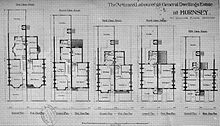 Blueprints for five designs of two-storey house of descending size