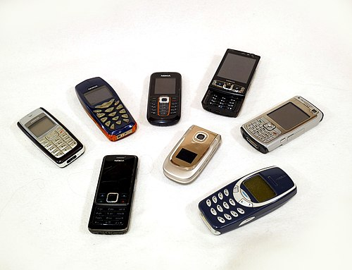 A collection of Nokia mobile phones from the 2000s Nokia mobile phones.jpg