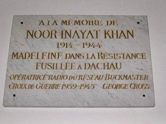 Noor Inayat Khan - Inayat Inayat Khan's memorial plaque at the Dachau Memorial Hall
