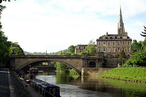 North Parade, Bath - North Parade bridge, showing Number 14 and the spire of St John's church.