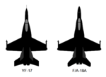 Northrop YF-17 and McDonnell Douglas FA-18 top-view silhouette comparison.png