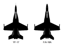 Diagram showing planform views of two jet aircraft, showing any differences between the two.