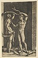 Nude woman viewed from behind holding fabric which blows behind her, looking at male nude standing in contrapposto in front of her. MET DP855132.jpg