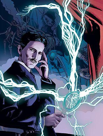 "Nyarlathotep - Nyarlathotep in the guise of Nikola Tesla in Rotomago and Julien Noirel's comic-book adaptation of the prose poem ""Nyarlathotep""."