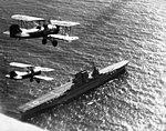 O2U Corsairs of VS-3 flying over USS Saratoga (CV-3) on 3 May 1929 (80-G-462938).jpg