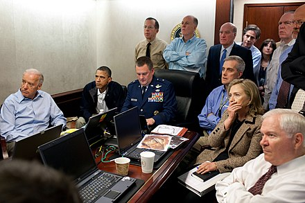 Obama and members of the national security team receive an update on Operation Neptune's Spear in the White House Situation Room, May 1, 2011. See also: Situation Room Obama and Biden await updates on bin Laden.jpg