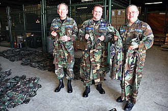 Pennsylvania Wing Civil Air Patrol - From left to right are Civil Air Patrol members Lt. Col. Jerry Patterson, Capt. Bob Thorn and Capt. Frank Sattler, who are holding battle dress uniforms donated from the 512th Airlift Wing to Delaware and Pennsylvania CAP units at Dover Air Force Base, Del., January 8, 2012.