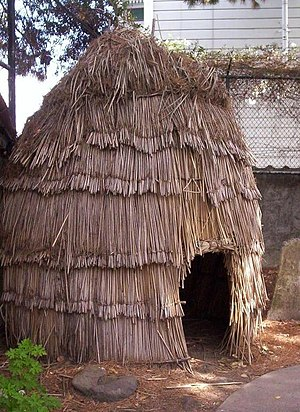 Ohlone - Replica of Ohlone Hut in the graveyard of Mission San Francisco de Asís, San Francisco