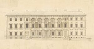 Old Treasury Building, Melbourne - Main facade of the Old Treasury Building, original drawing by JJ Clark