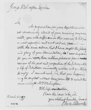 """Oliver Ellsworth - Letter from Ellsworth to George Washington wishing former president """"a most respectful and most cordial farewell,"""" March 1797"""