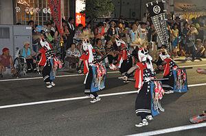 Kitakami Michinoku Traditional Dance Festival - Devils Sword Dance of Kitakami, Iwate, performed on the street in the Kitakami Michinoku Traditional Dance Festival