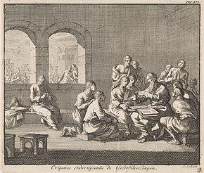 Origen wikipedia dutch illustration by jan luyken 1700 showing origen teaching his students fandeluxe Images