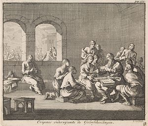 Hexapla - Origen with his disciples. Engraved by Jan Luyken, c. 1700