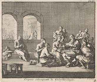 Origen - Dutch illustration by Jan Luyken (1700), showing Origen teaching his students