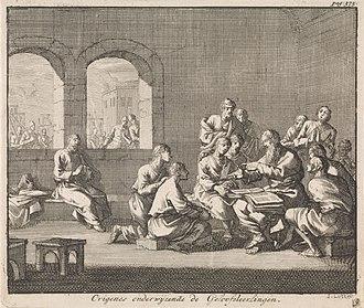 Origen - Dutch illustration by Jan Luyken (1700), showing Origen teaching his students