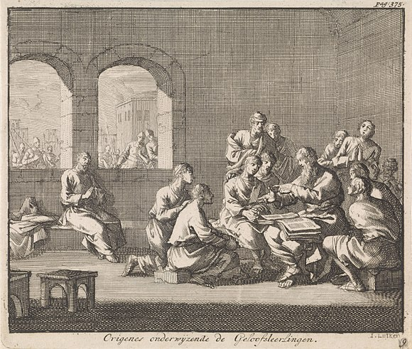 Dutch illustration by Jan Luyken (1700), showing Origen teaching his students OrigenStudentsLuyken.jpg