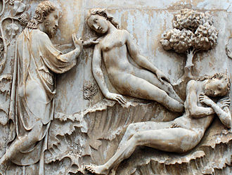 Eve - Creation of Eve Marble relief by Lorenzo Maitani on the Orvieto Cathedral, Italy