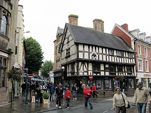 Oswestry - Oswestry – Historic buildings in the town centre, October 2008. Timber framed building in foreground is Llwyd Mansion.