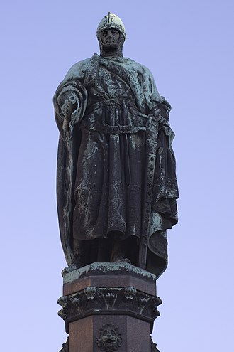Bergregal - Statue of Otto the Rich in Freiberg, centre of mining in the Ore Mountains
