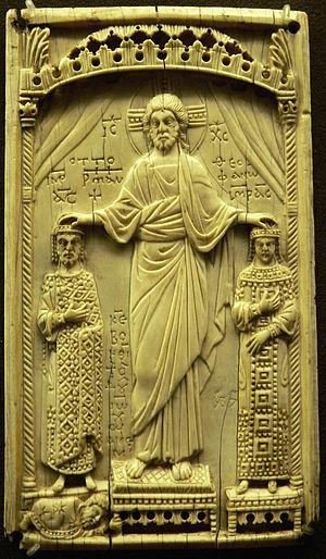 Theophanu - Otto II and Theophanu, crowned and blessed by Jesus Christ, Byzantine ivory relief, Musée de Cluny, Paris.