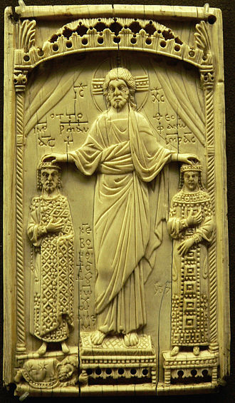 Theophanu - Christ blessing Otto (left) and Theophano (right), ivory book cover, dated  982/3, Musée de Cluny, Paris.