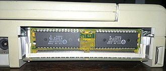 Macintosh clone - Mac ROM was used in the Outbound Notebook. The Mac ROM stick is shown removed, revealing the RAM slots.