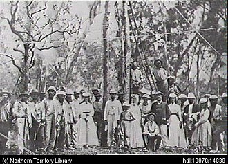 Australian Overland Telegraph Line - Planting the first telegraph pole, near Palmerston (Darwin) in September 1870.
