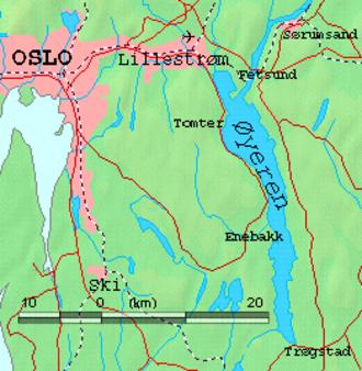 Øyeren - Map of Øyeren and surrounds