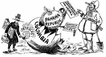 US cartoon on the Hay-Bunau-Varilla Treaty